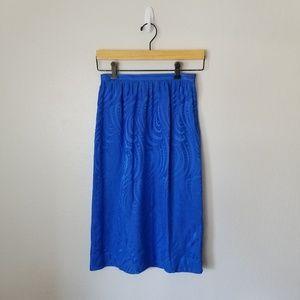 Vintage 100% Pure Silk Blue Skirt 4